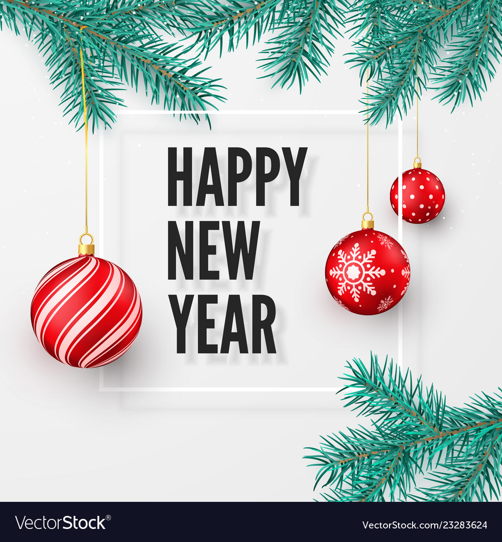Happy new year and merry christmas greeting card