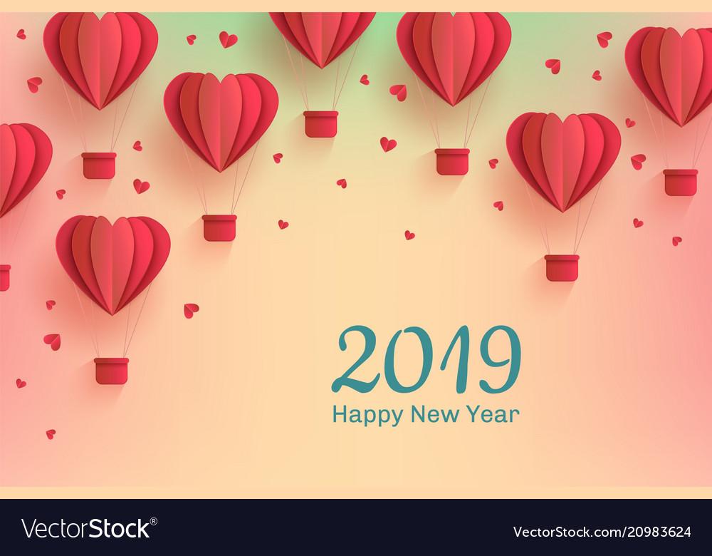 New year 2019 template papercut air balloon