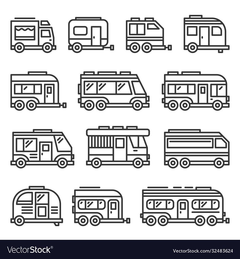 Recreational vehicles rv camper vans icons set on