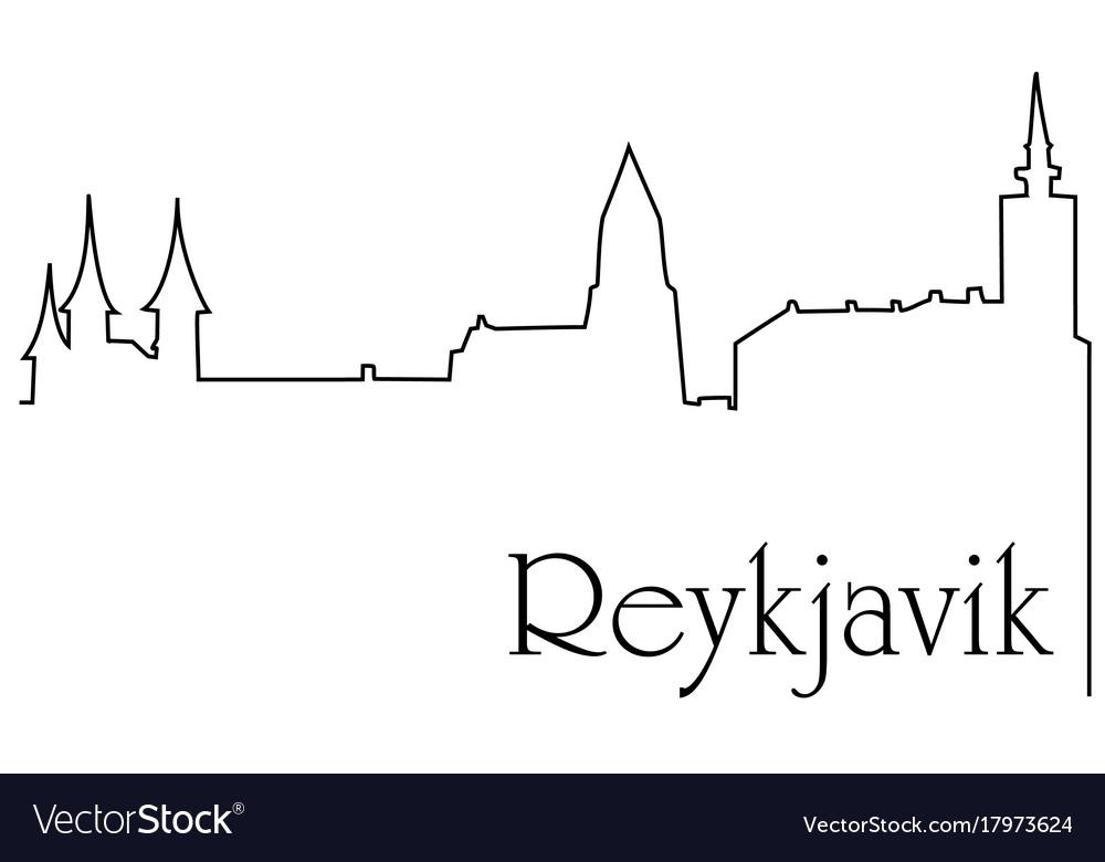 Reykjavik city one line drawing background
