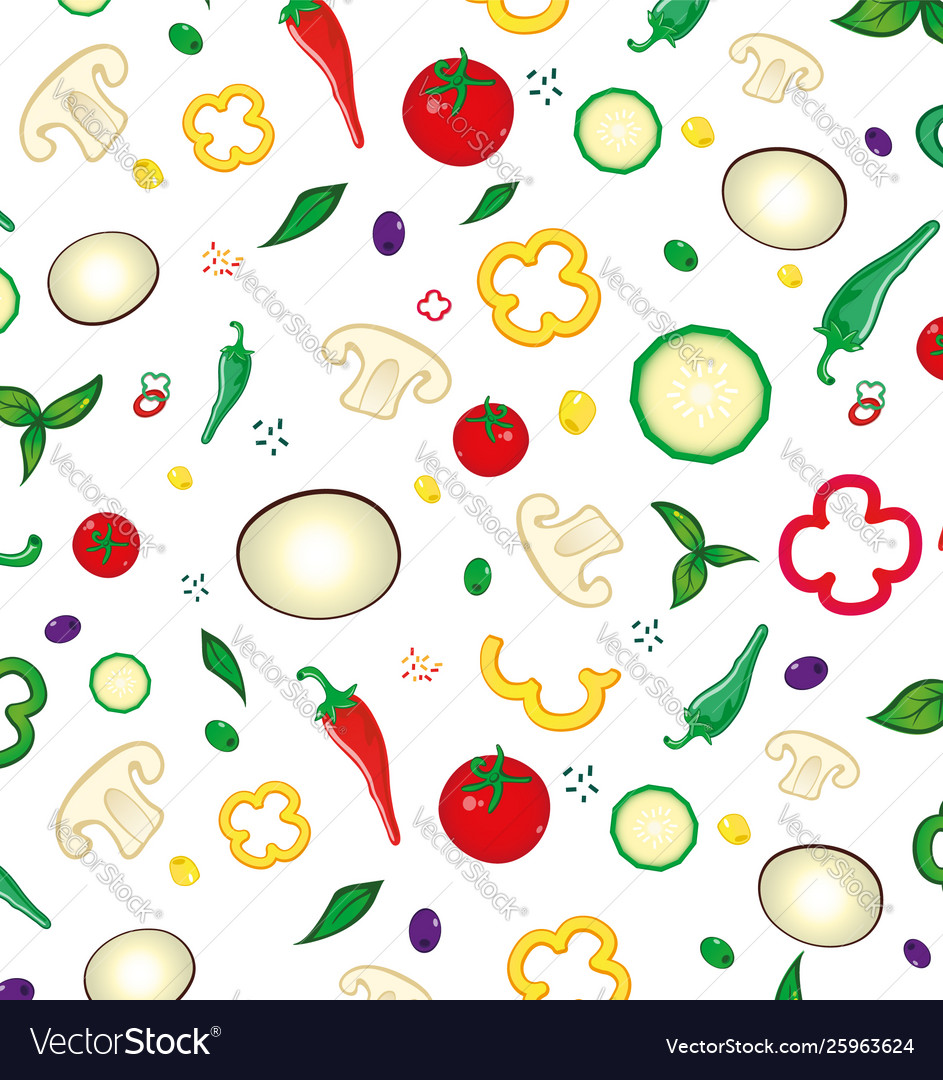 Seamless pattern with colored vegetables