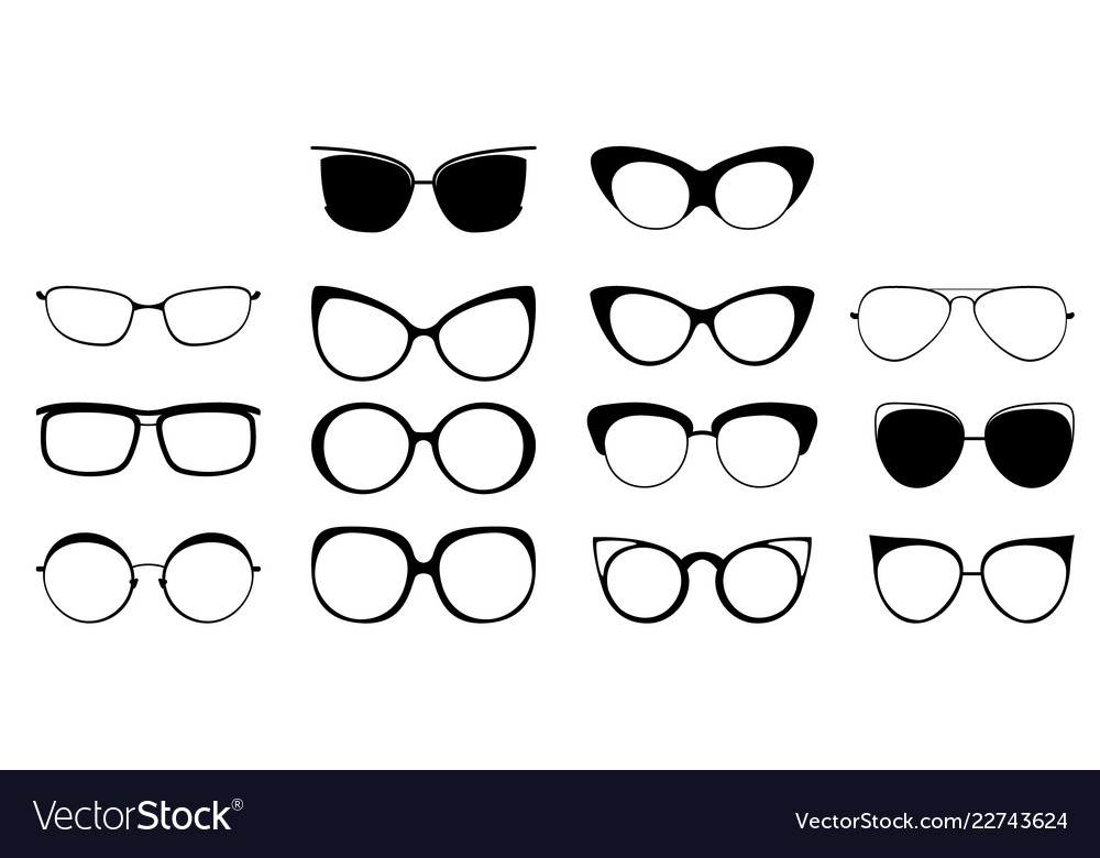 Set of glasses in different frames black glasses Vector Image