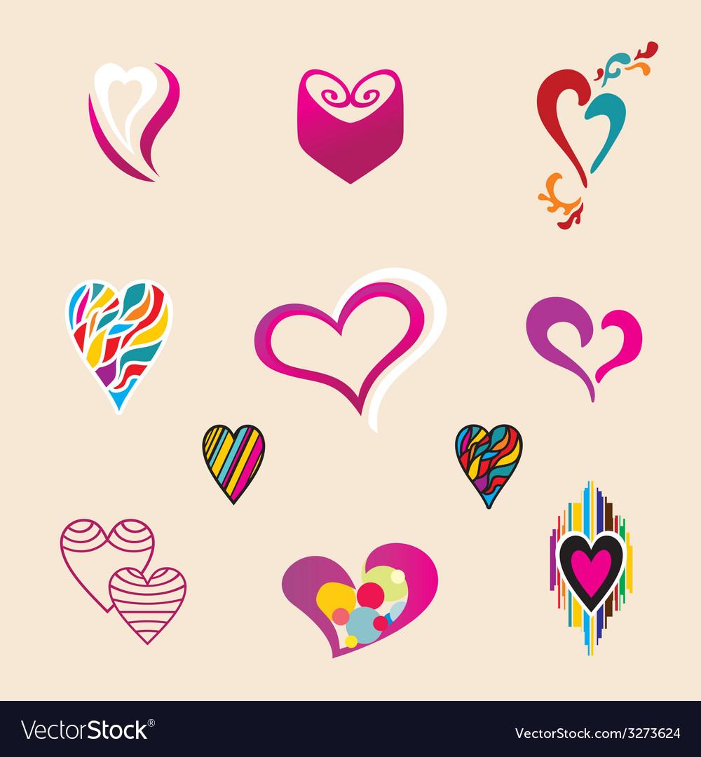 Valentine hearts set vector image