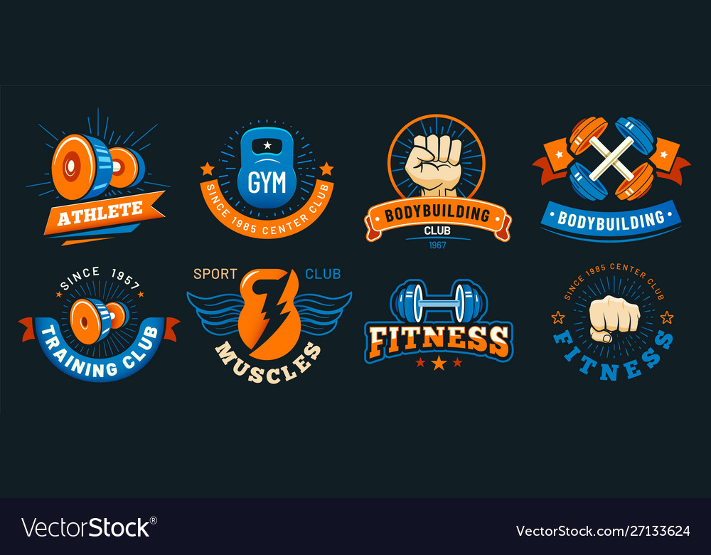 Vintage gym emblem athlete muscles fitness and