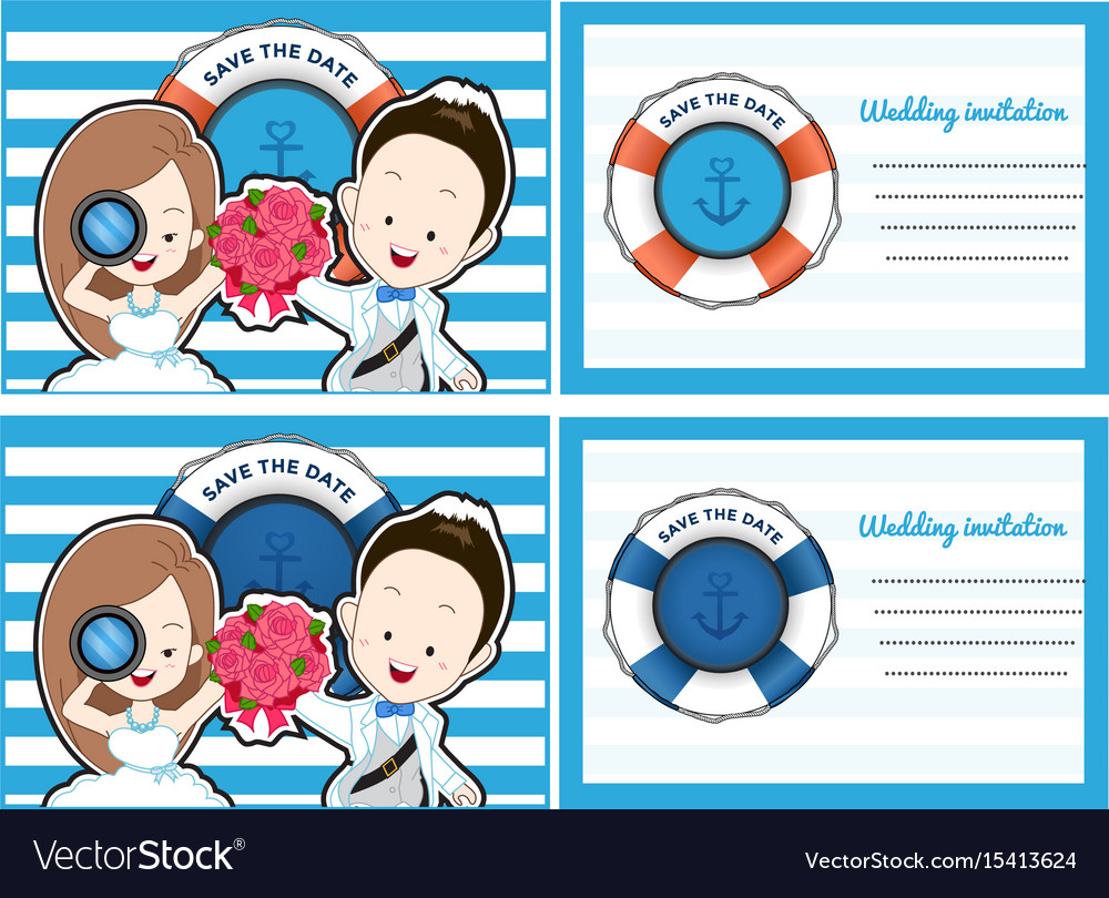 Wedding card invitation in pirate and blue sea vector image stopboris Image collections