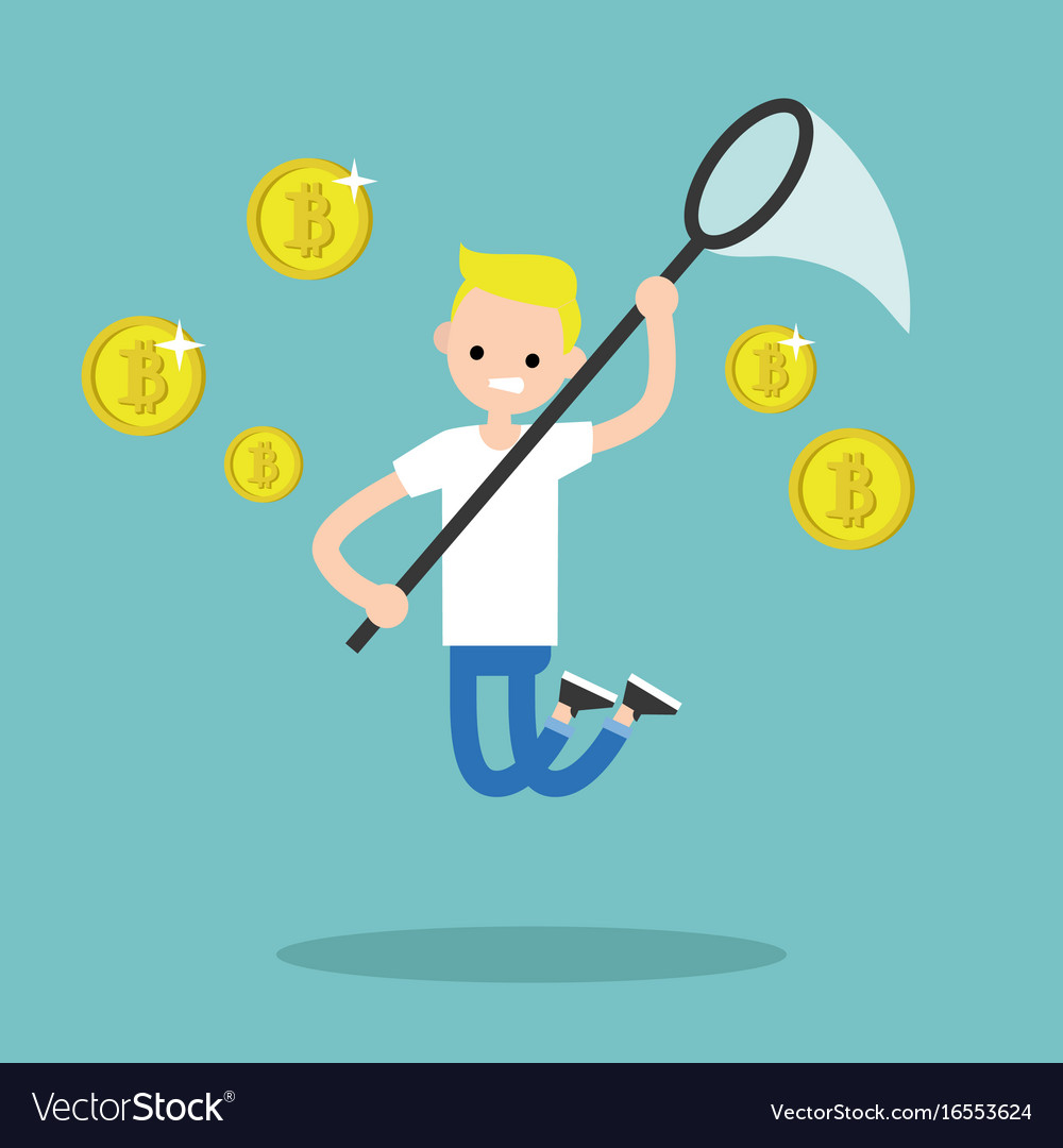 Young male character mining bitcoins conceptual