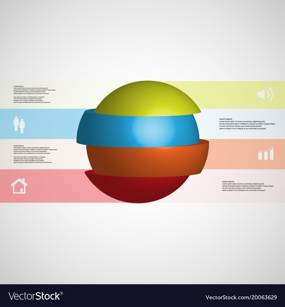 3d infographic template with ball sliced to four