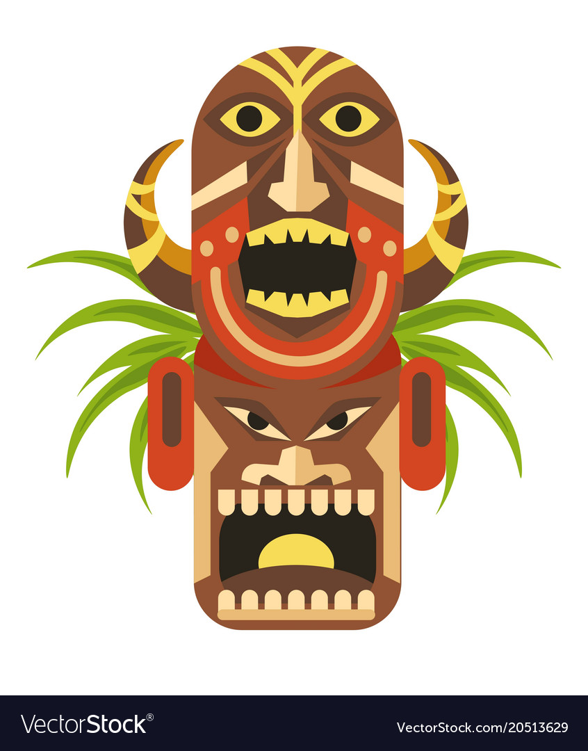 Ancient ritual mask with angry faces from mayan vector image