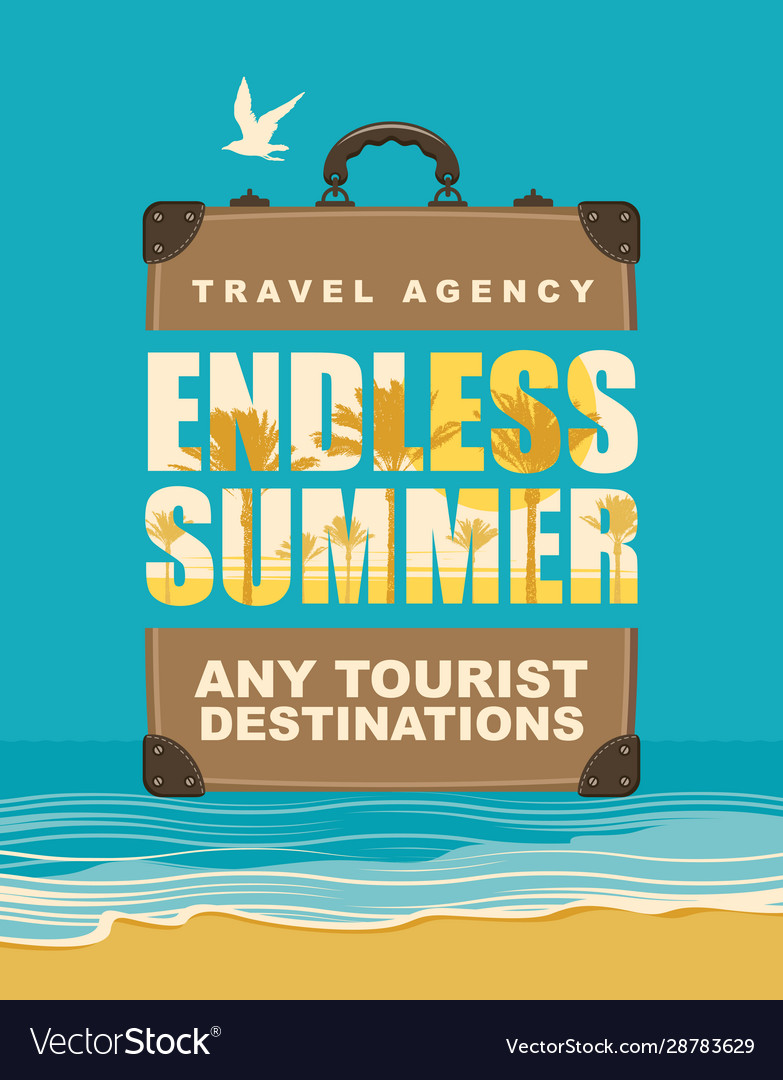 Banner with travel suitcase and seascape