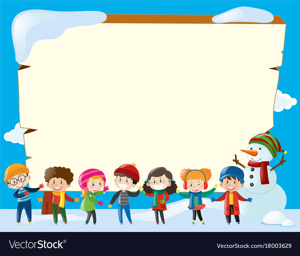 Border template with children in winter