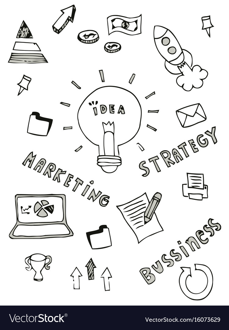 Business doodle icon design free hand