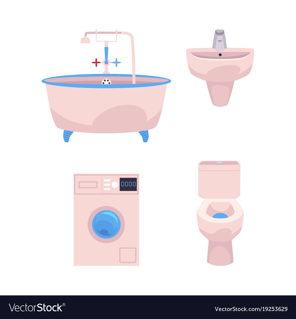 Cartoon Bathroom Appliances Set Royalty Free Vector Image