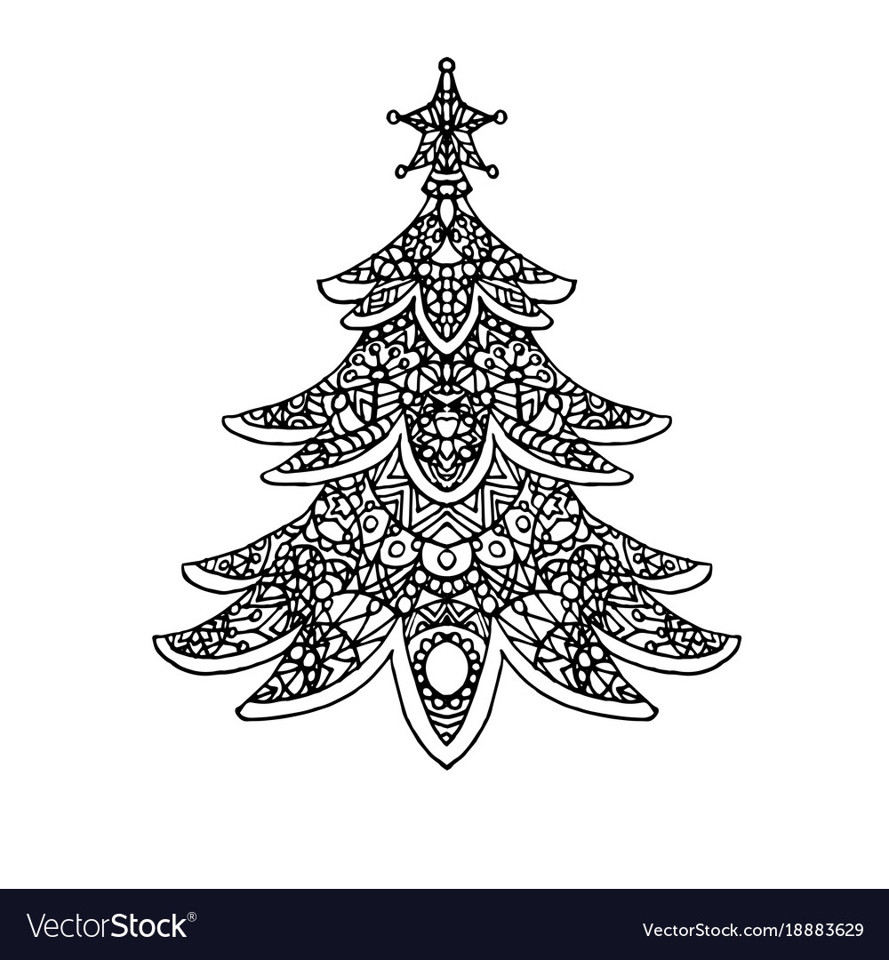 Christmas tree coloring page Royalty Free Vector Image