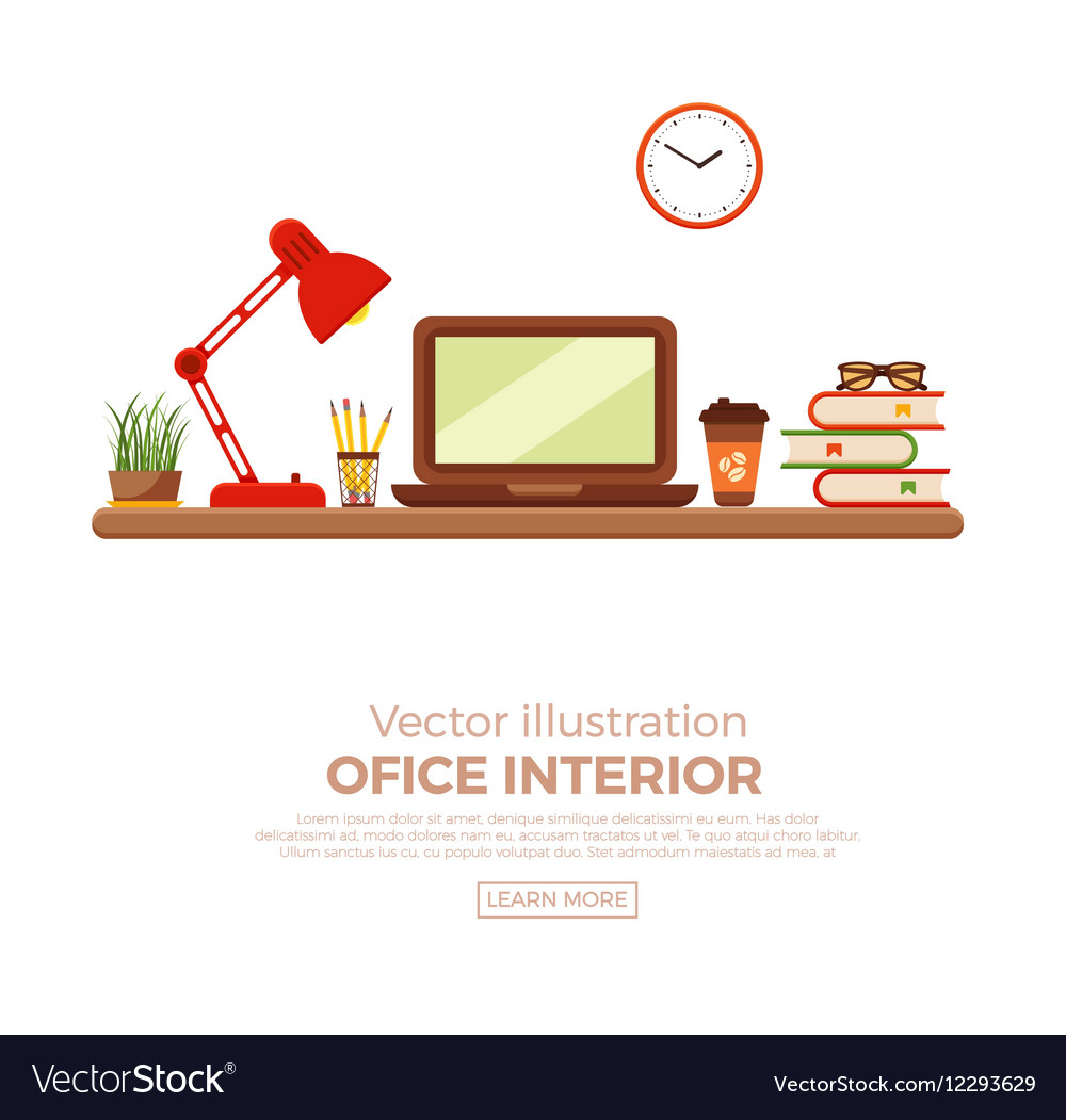 Colorful office desk closeup