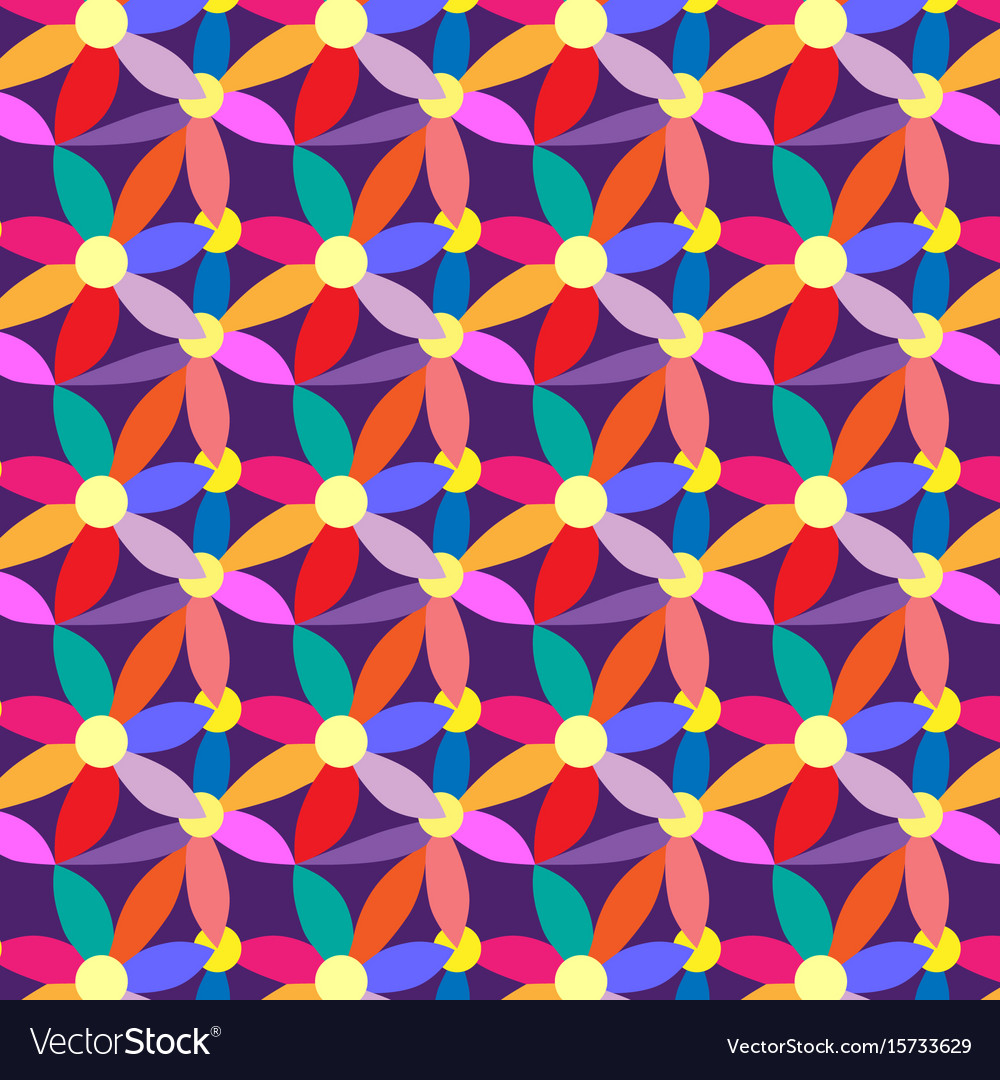 Geometric pattern with flowers