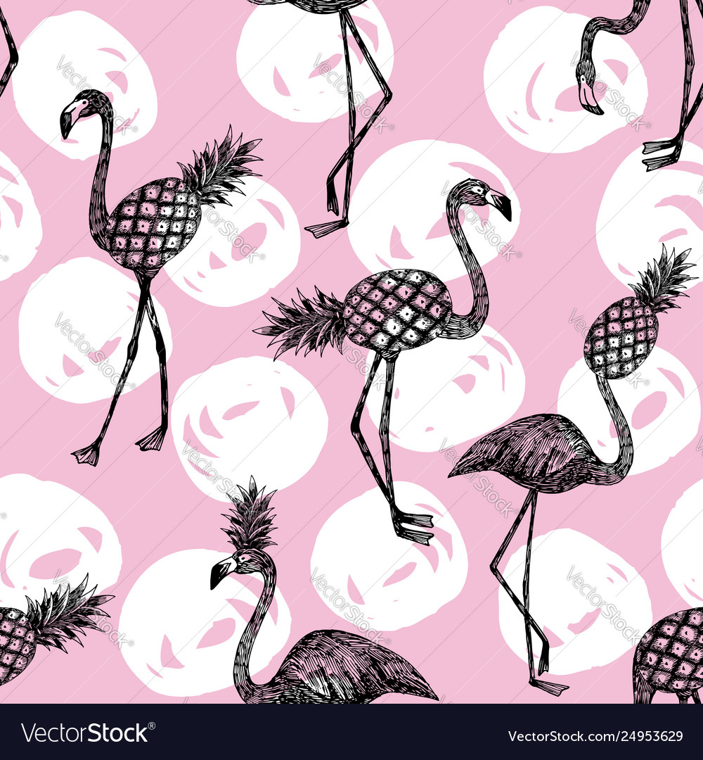 Half flamingo and pineapple pink white bckground
