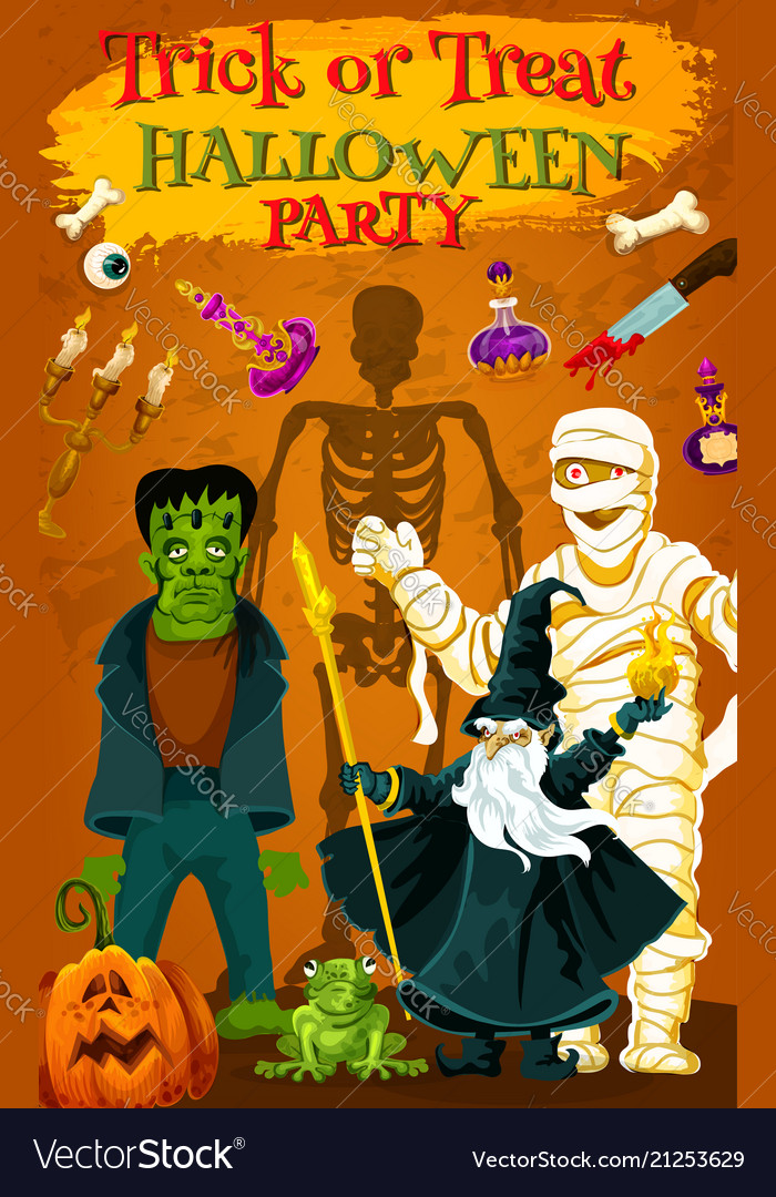 Halloween holiday horror monster party poster