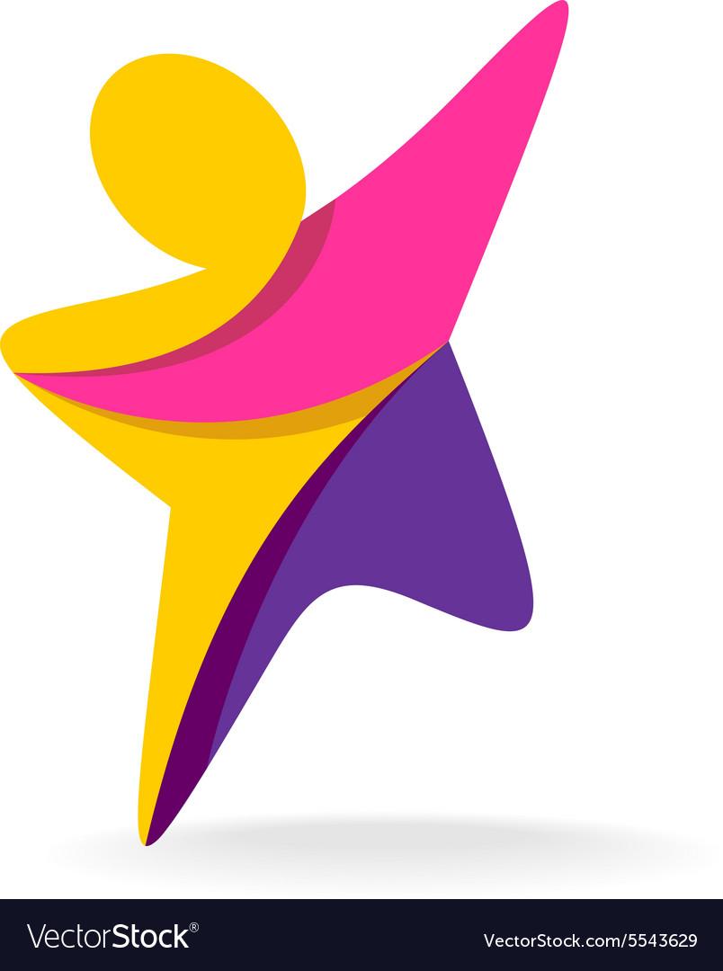 Man reach logo vector image
