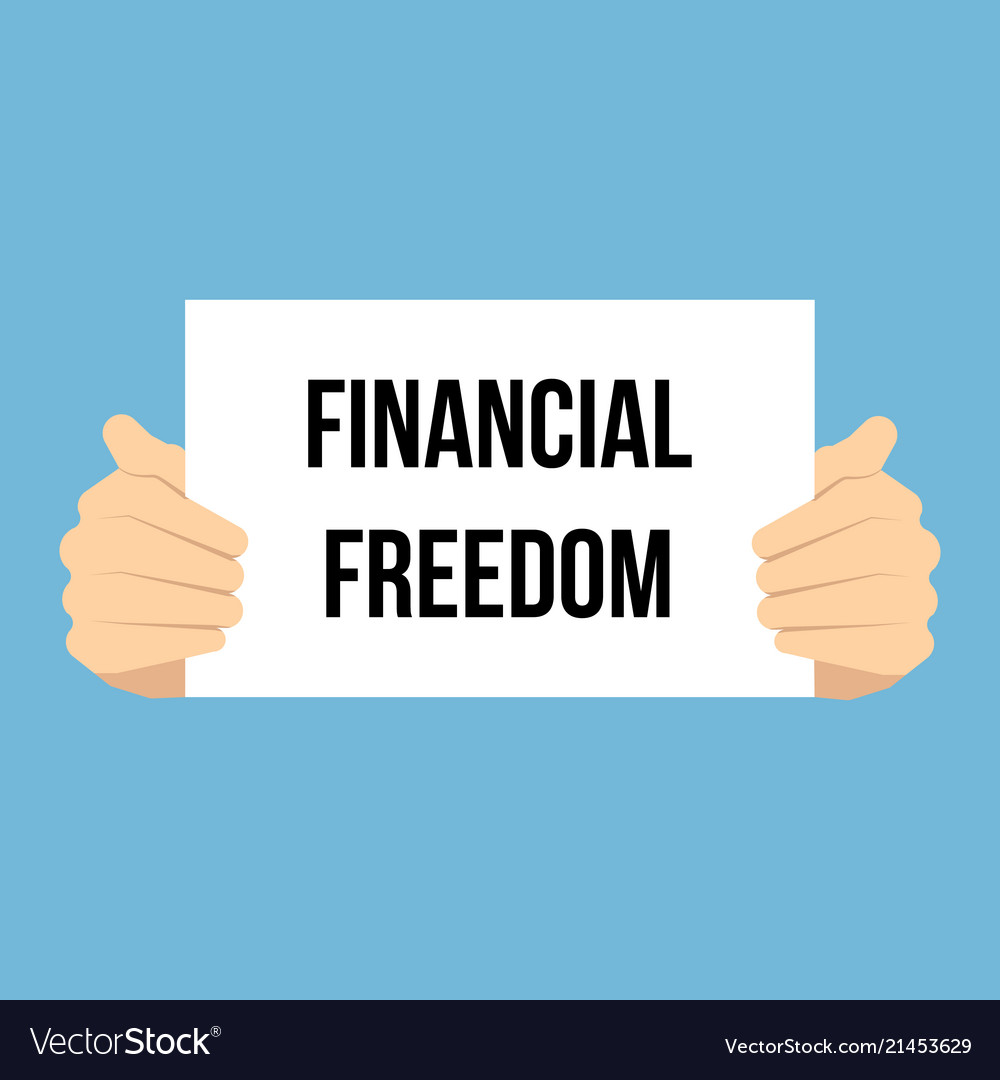 man showing paper financial freedom text vector image