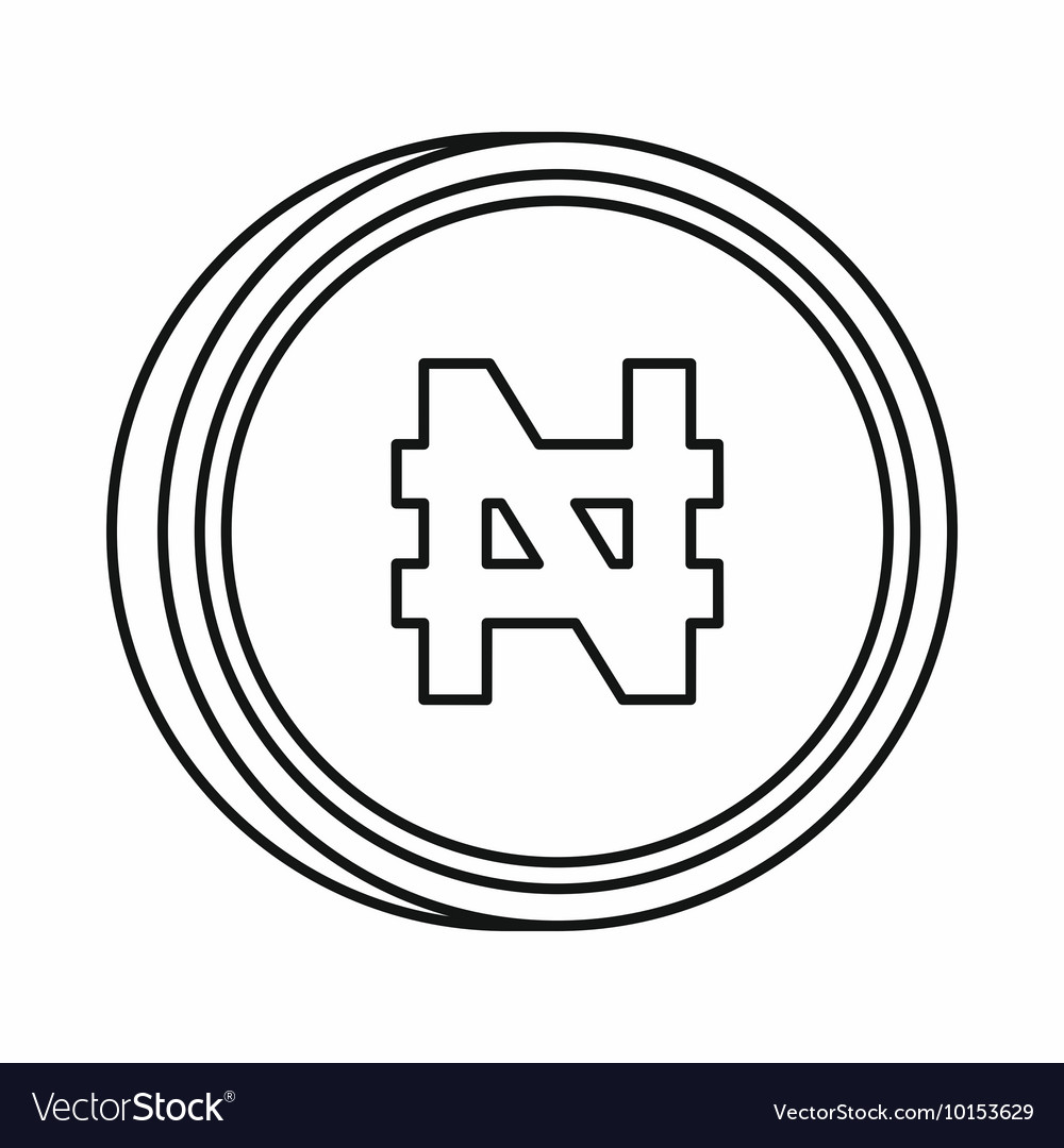 Nigerian naira sign icon outline style