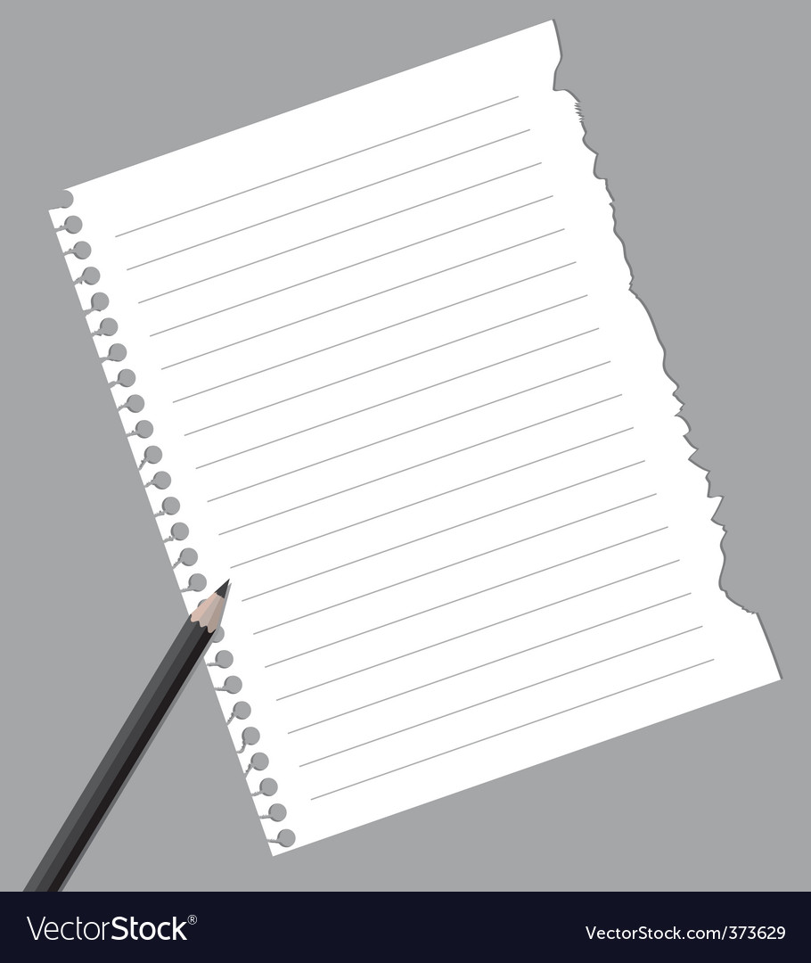 notebook paper with pencil royalty free vector image