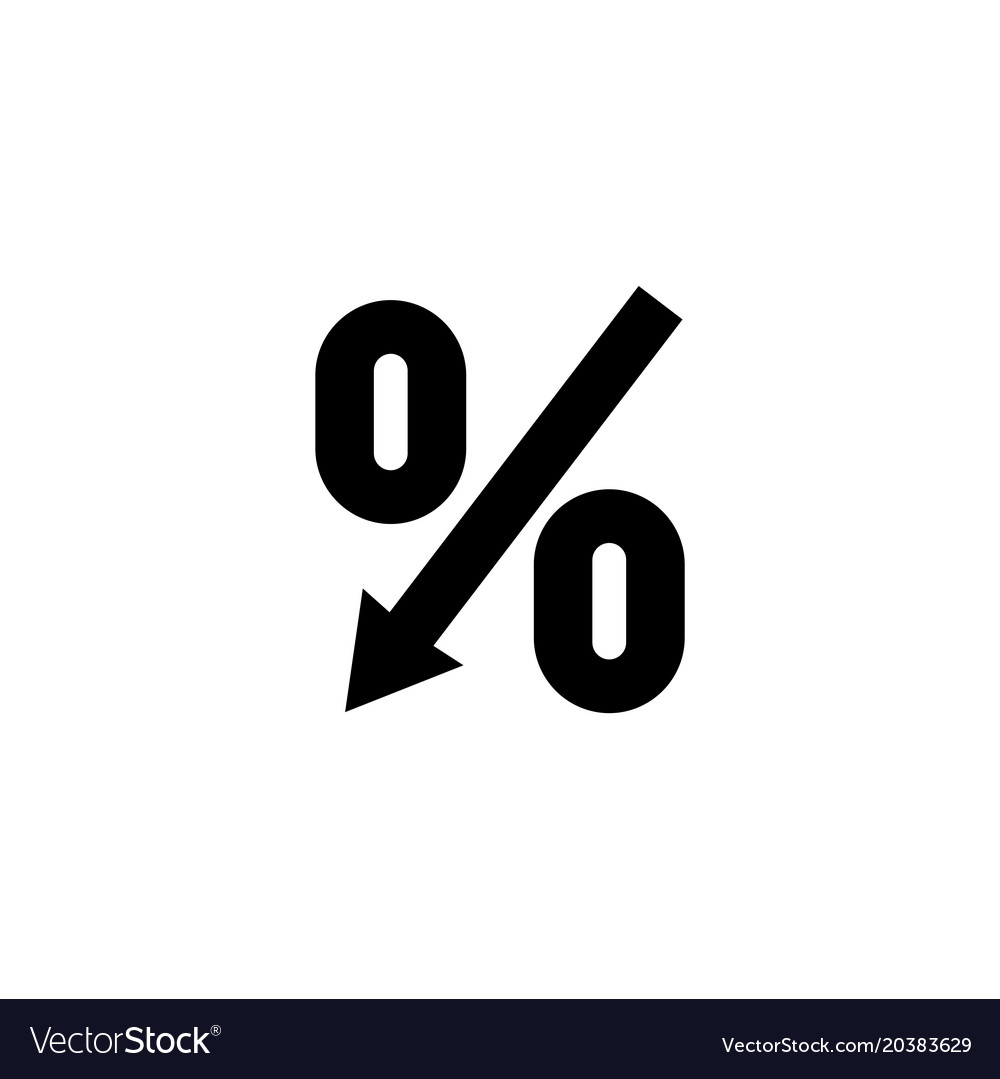Percent down arrow flat icon