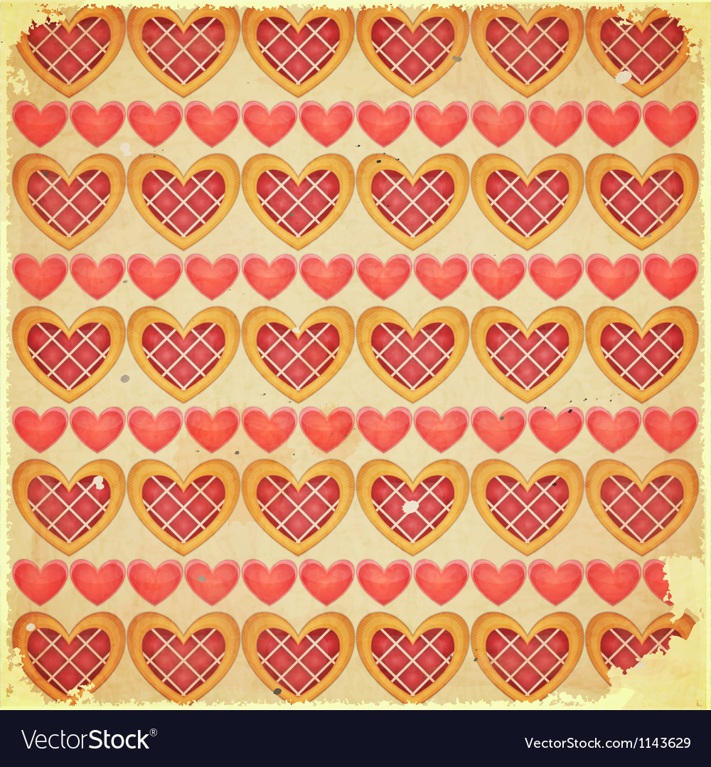 Retro Valentines Day Background with Hearts vector image