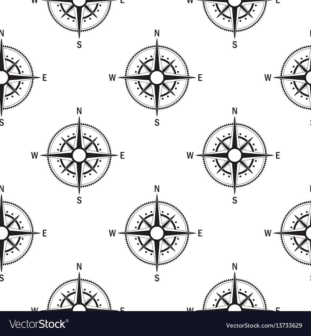 Seamless pattern compasses vintage