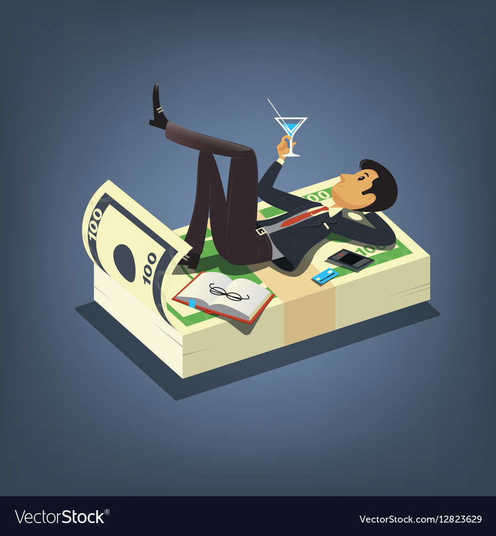 Successful businessman drinking cocktail and vector image