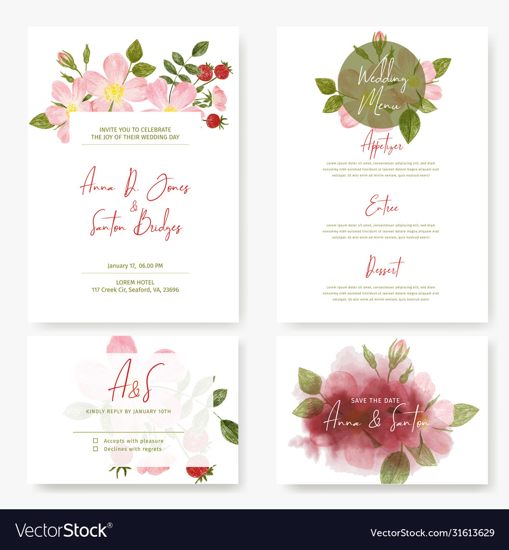 Wedding kit four cards designs with roses