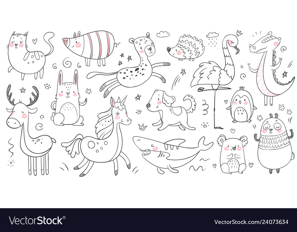 Doodle animals sketch animal hand drawn