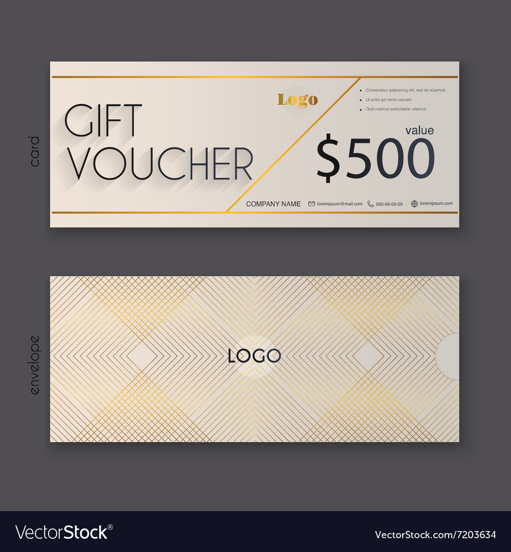 Gift voucher template with gold pattern Gift