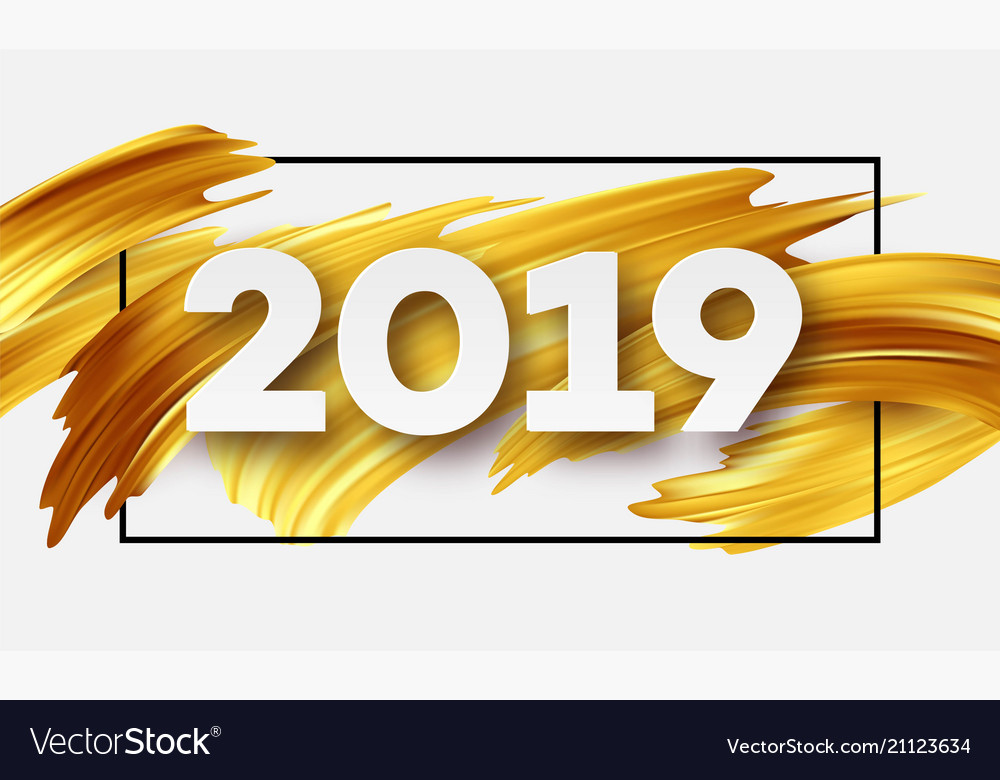 Gold 2019 happy new year greeting card royalty free vector gold 2019 happy new year greeting card vector image m4hsunfo