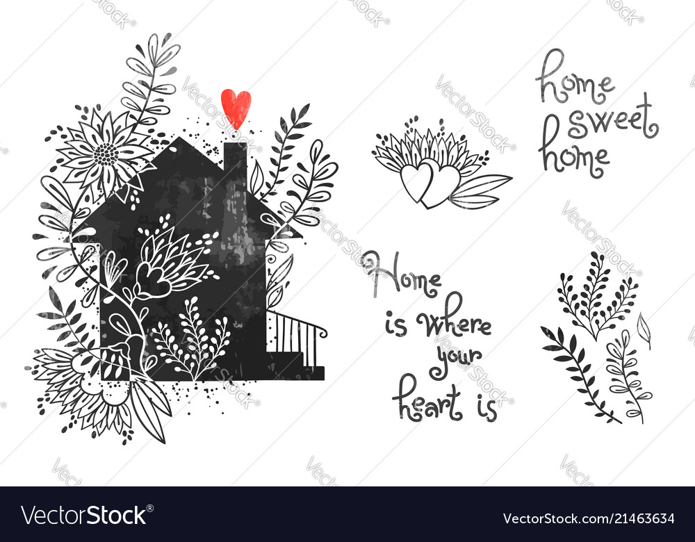 Hand drawn house with flowers and inscriptions