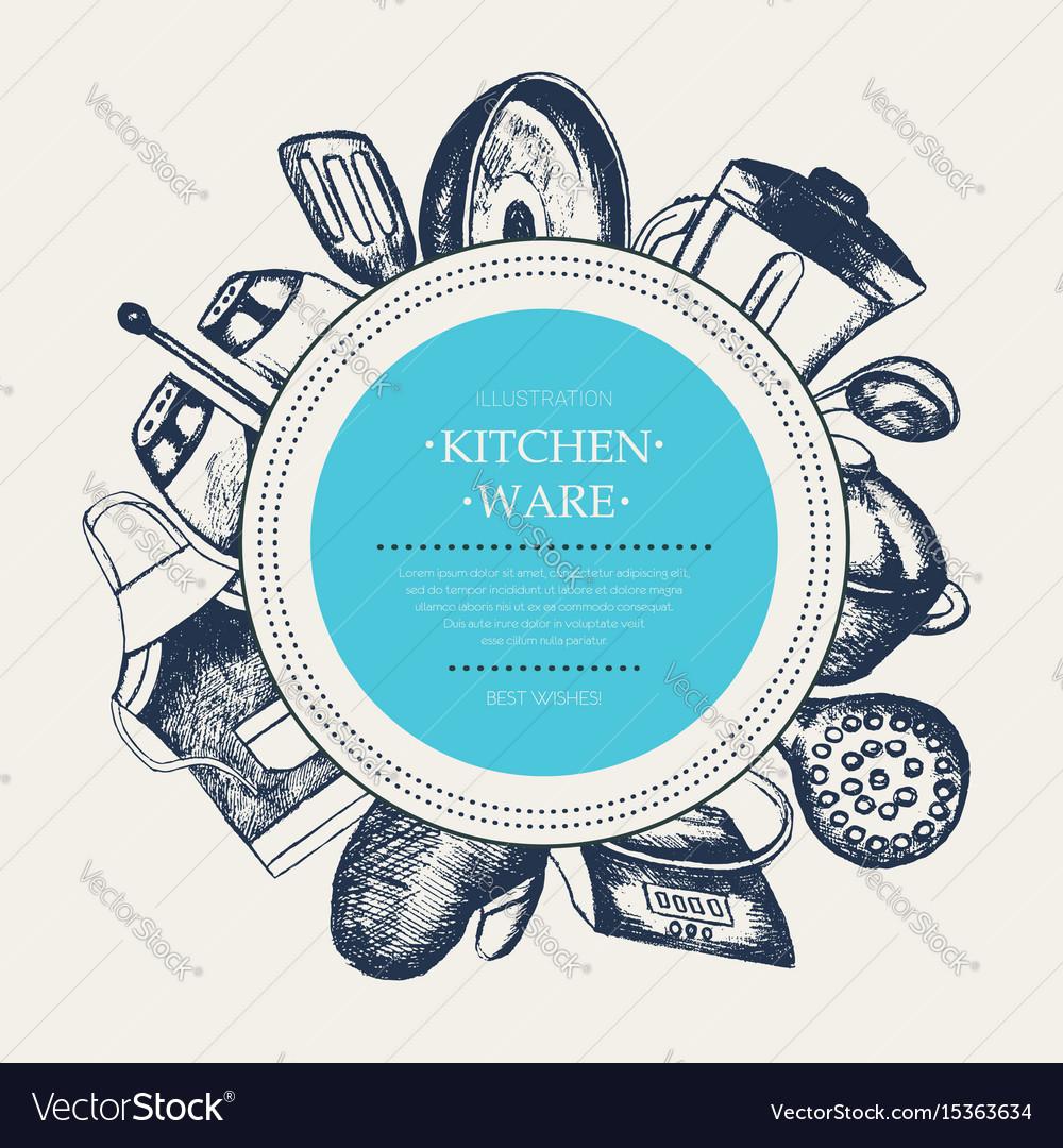 Kitchen ware - modern drawn round banner template Vector Image