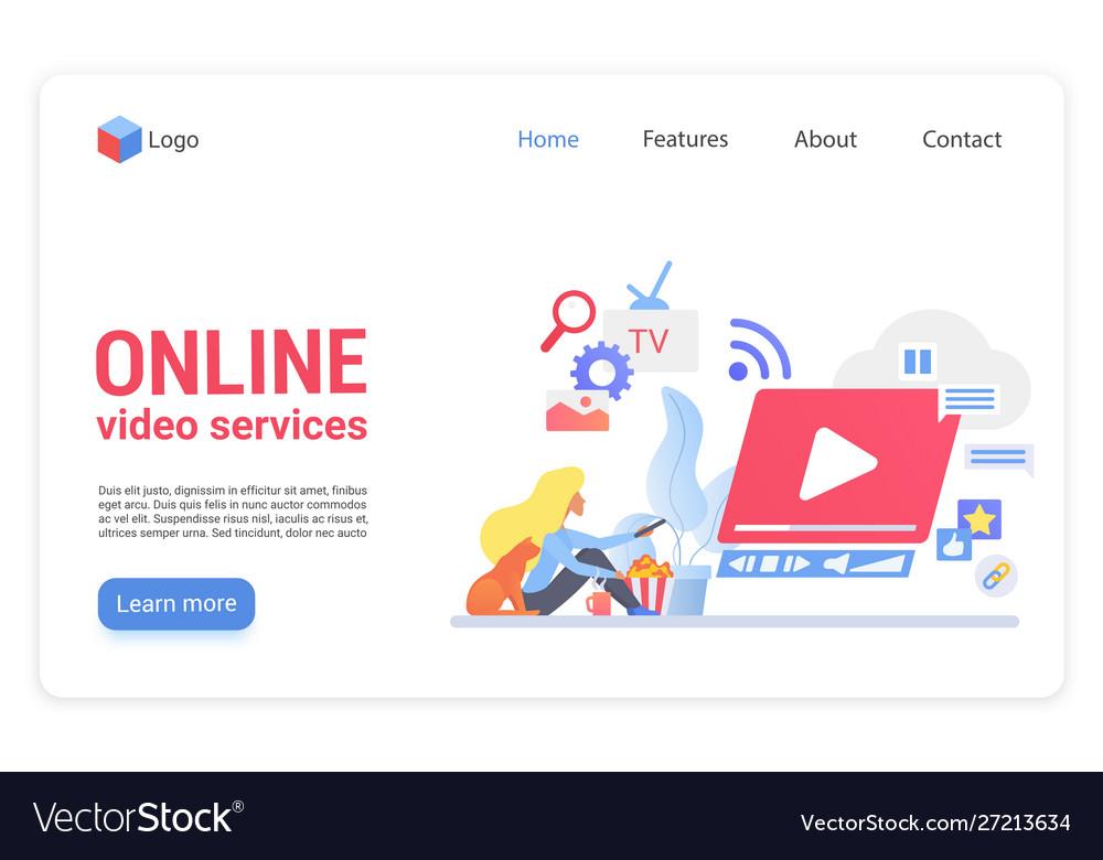 Online video service flat landing page