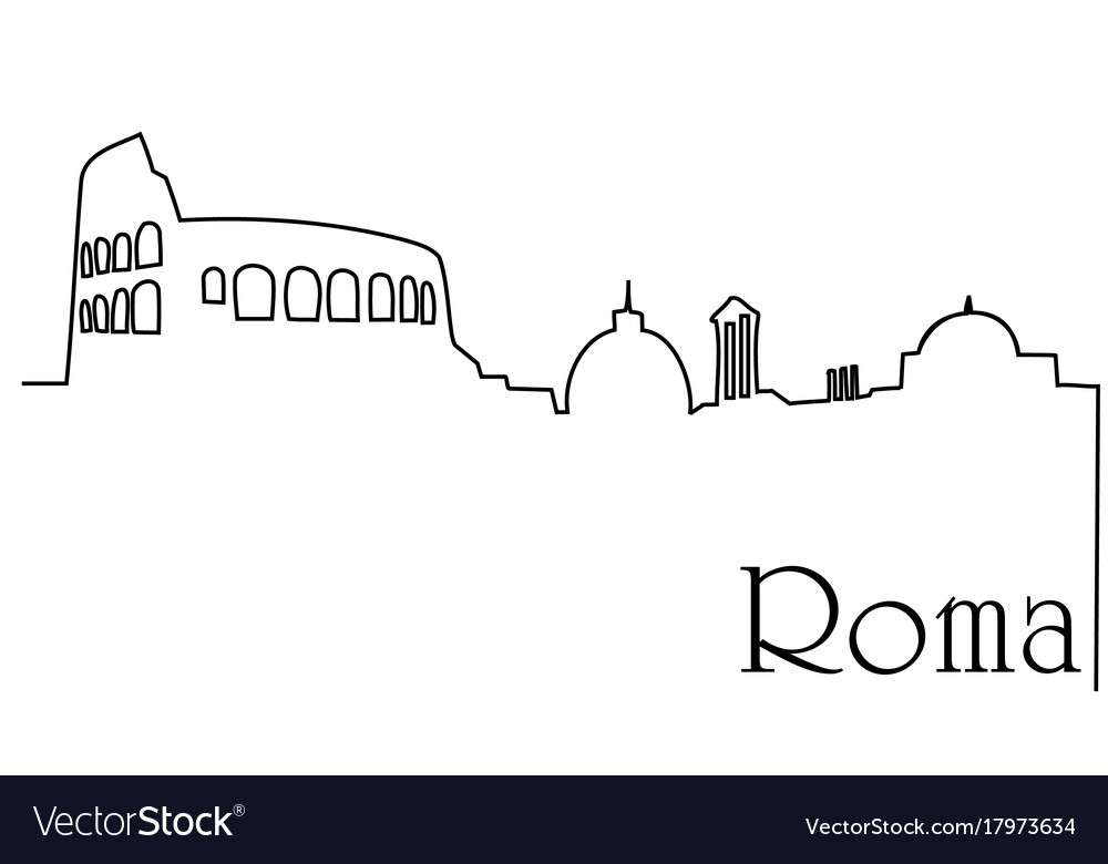 Roma city one line drawing background