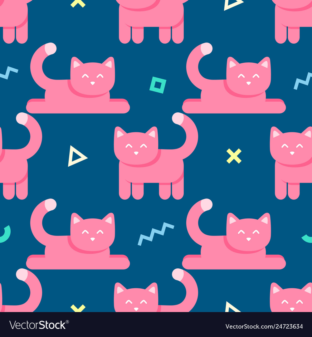 Seamless abstract pattern with pink cats and