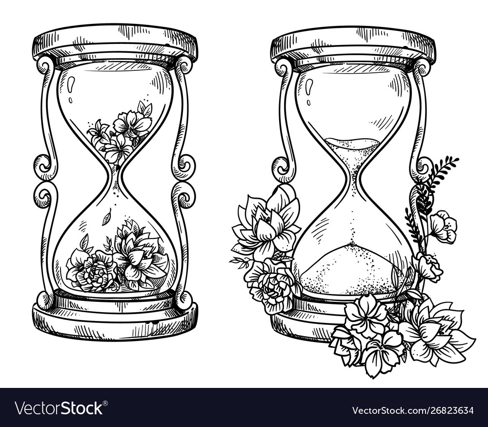Set 2 vintage sand hourglasses with flowers