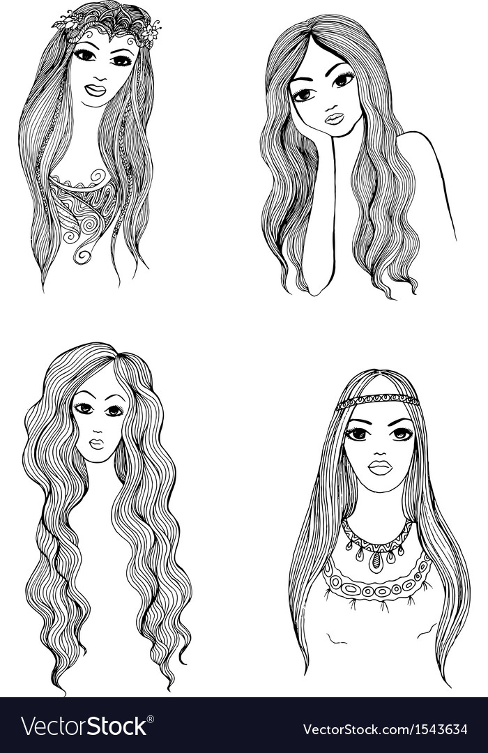 set of hand drawn girl sketches royalty free vector image