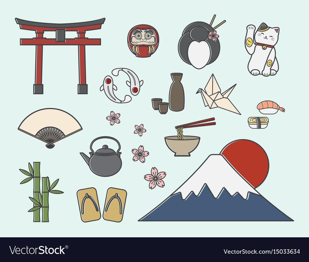 Set Of Japanese Symbols Royalty Free Vector Image