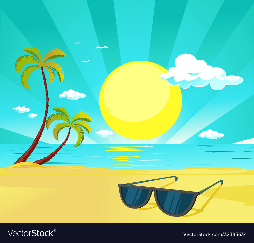 Sun glasses on tropical beach with palm tree