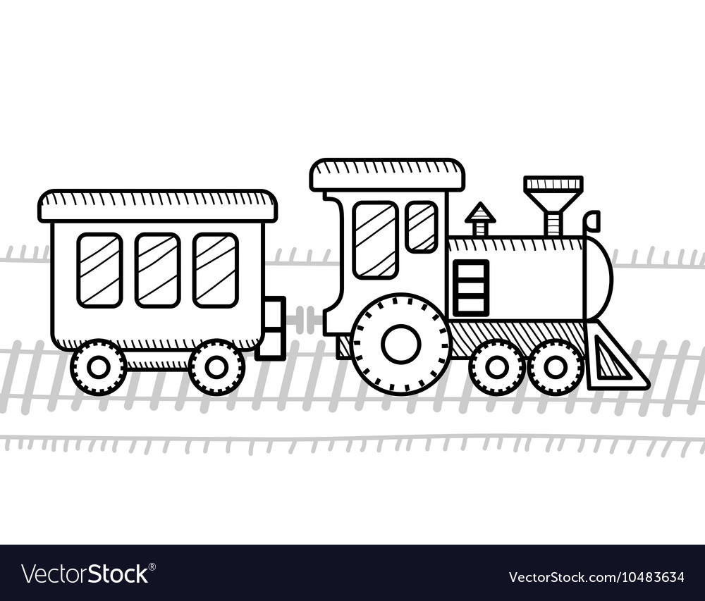 Train coloring book for kids Royalty Free Vector Image