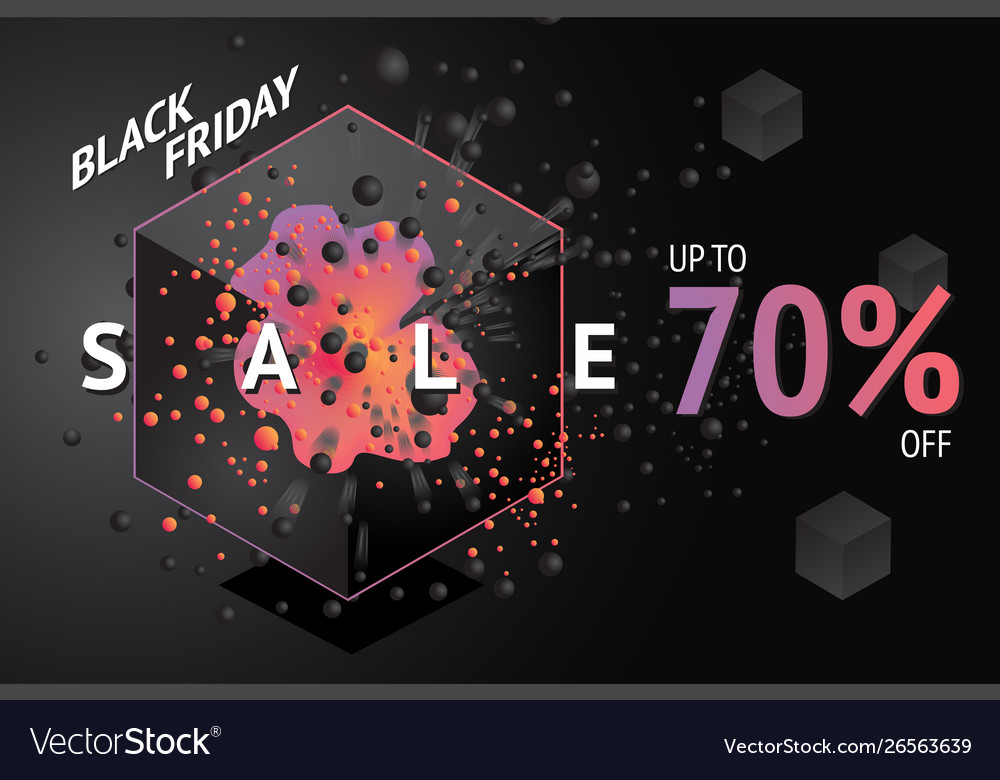 Black friday sale banner with abstract 3d element
