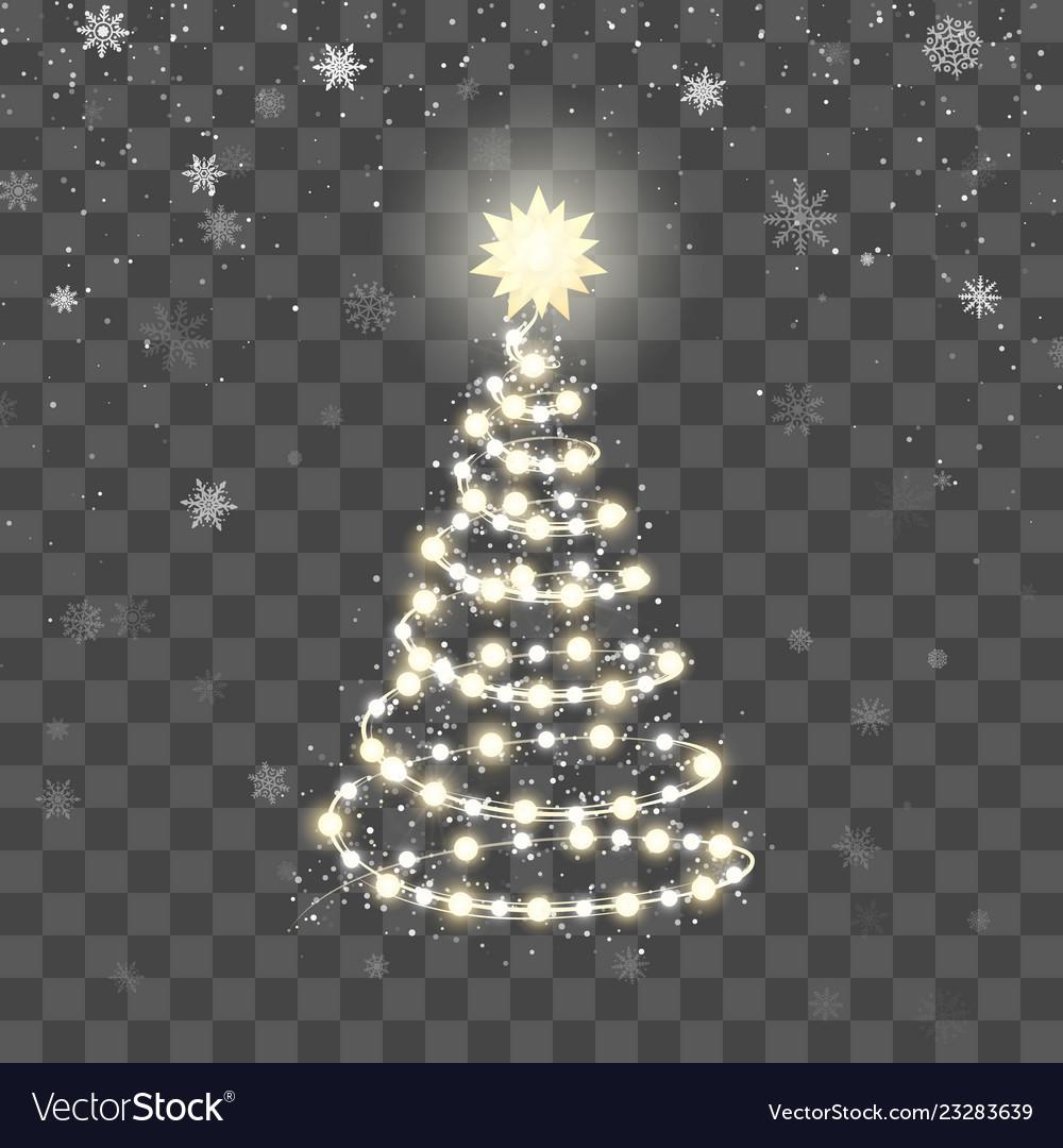 Christmas shiny tree silhouette new year tree