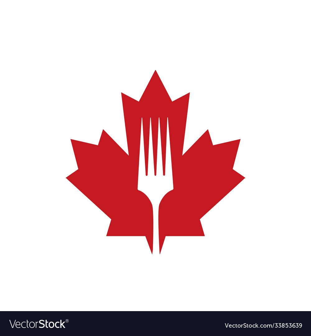 Creative Canadian Restaurant Logo Design Vector Image