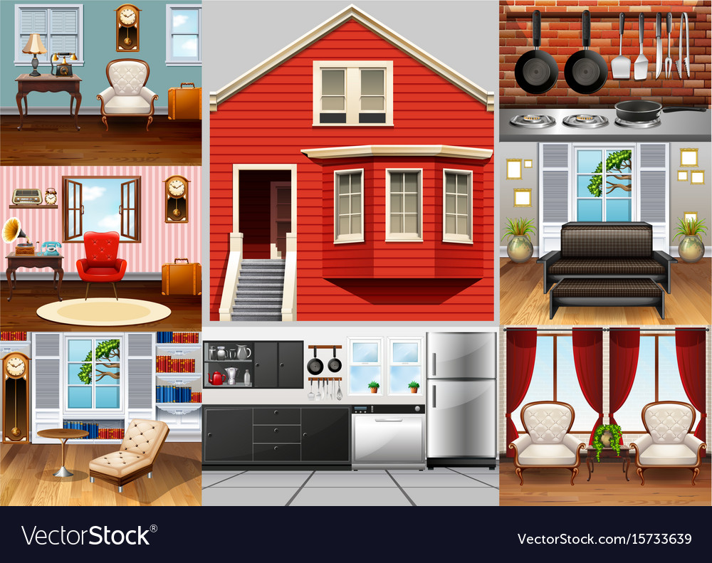 Different rooms in the house vector image