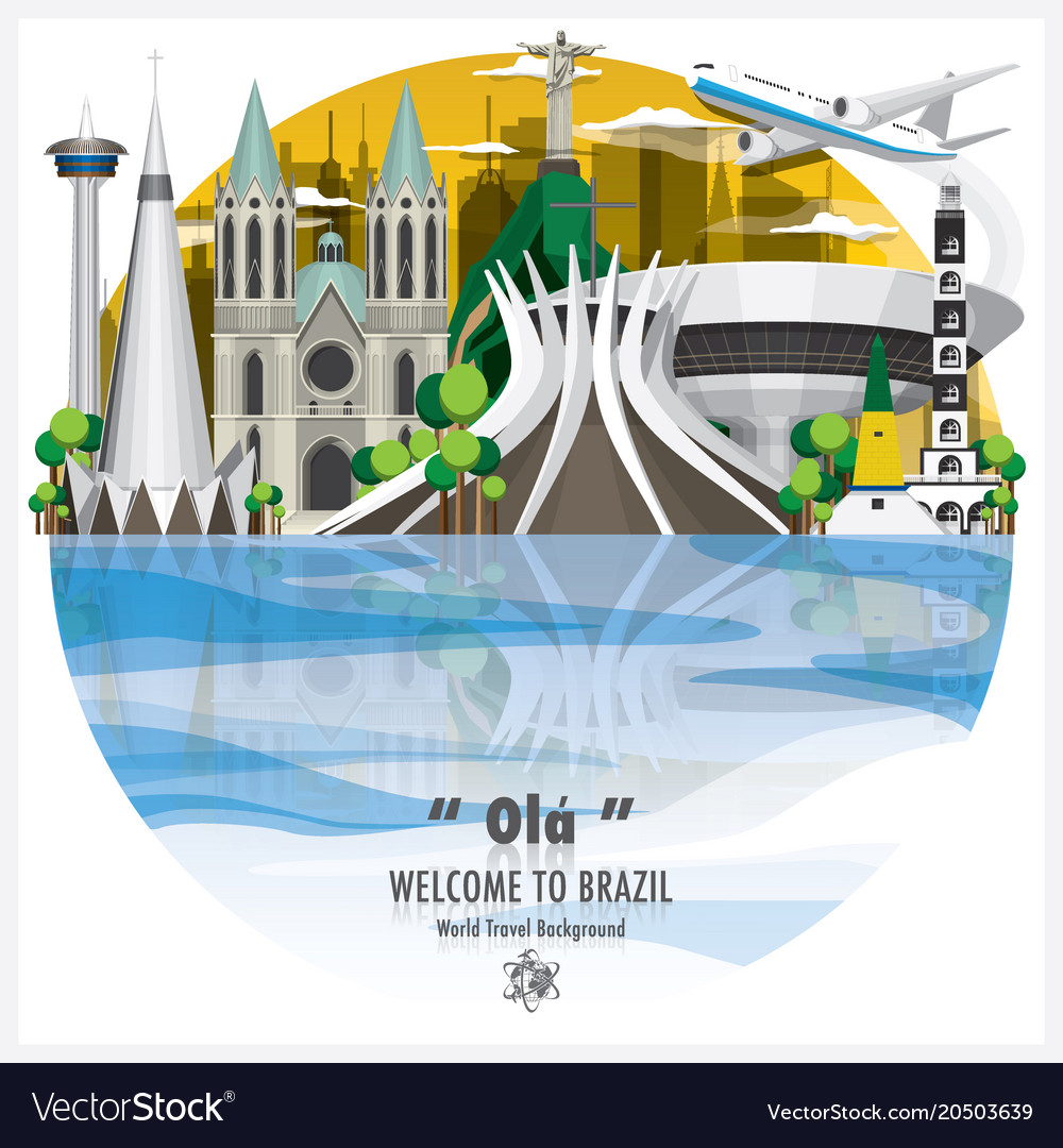 Federative republic of brazil landmark global vector image