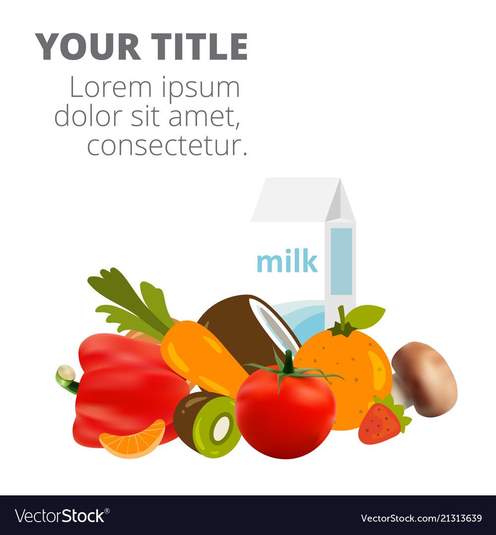 Healthy food fresh vegetables and milk imag