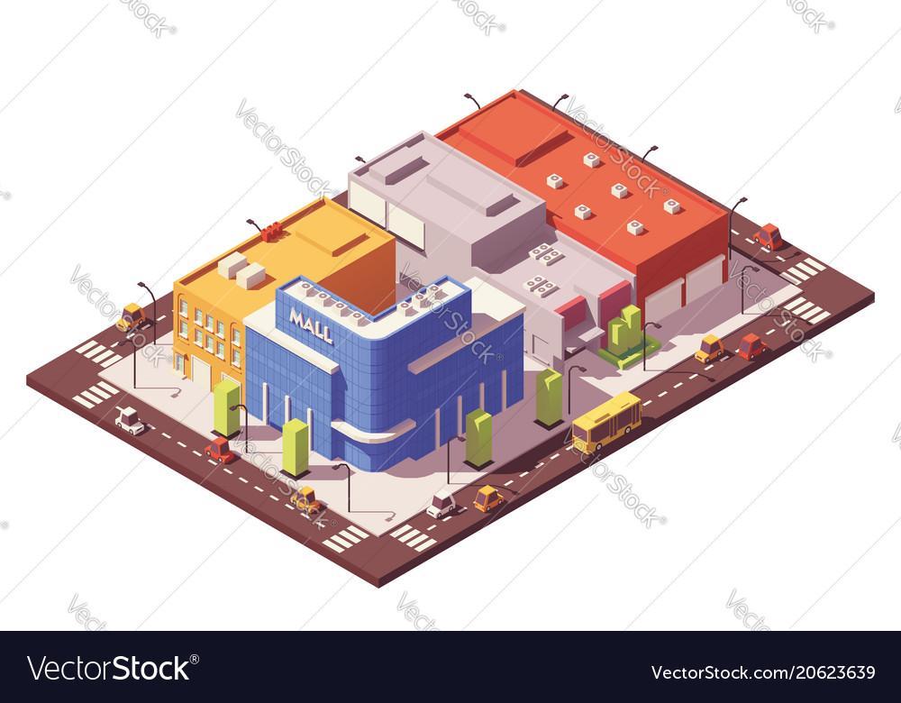 Low poly isometric city block